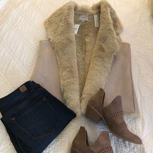 LOFT Faux fur and suede vest